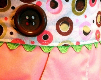 Pink and Brown Dots Apron (Half)