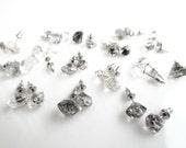 Herkimer Stud Earrings, Herkimer Diamond Earrings with Black Inclusions, Crystal Quartz Earrings
