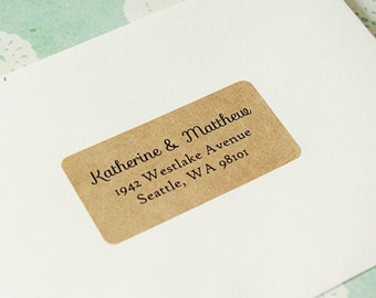 Wedding Return Address Labels, Custom Printed Return Address Labels - Design #01, Brown Kraft Address Labels, Simple Address Labels