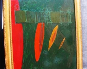 Abstract Painting , Art , Original , Steve Larose , Early 90's , Painting , Prattle , Larose , Fine Art , Vintage Art , Green , Framed