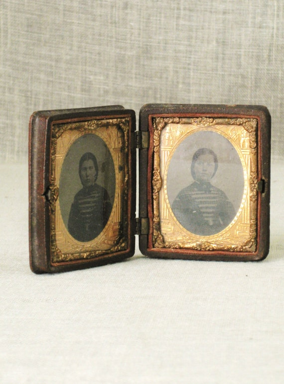 Tintype / Double Image / Sisters / Antique Photography / Antique Photos / Photo Case / Framed Photograph - Vintage Art Gallery