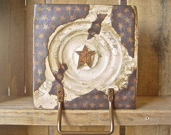 Antique Architectural Salvage Rustic Star Wall Art Distressed Chippy Country Primitive Decor Vintage Assemblage Aged Buttercream & Navy Blue
