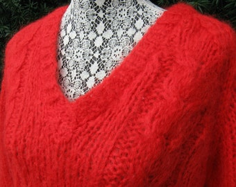 Vintage 60s Bright Red Made in Italy Wool & Mohair V-neck Sweater by Carole Brent, Medium