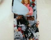 ZIPPERED Sleeping Bag Cats n Rose 5 pc Blythe Pullip Barbie Fashion Dolls n many more