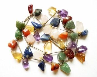 Amazing 1970s Semi Precious Stone Necklace Silver Tone Chain