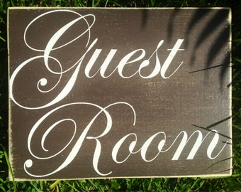 Guest Room 10x8 (Choose Color) Rustic Shabby Chic Sign