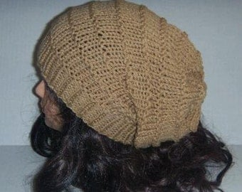 Knit Slouchy Tan Beanie Hat, Thin Lines Accordion Hat, Womans Knit Hats, Womans Accessories, Teen Hat