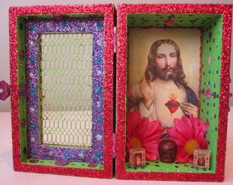 Jesus Christ nicho, altar, Obatala shrine, Santeria, Voodoo, shadow box, folk art