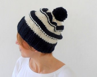 Striped Slouchy Hat, Pompom Hat in Dark Blue Cream