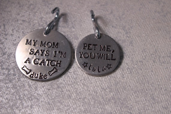 "Custom Stamped Pet ID Tag - 1-1/4"" - your choice of text and phone number on the back"