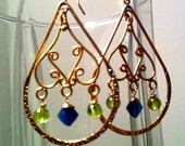 Green and Blue Gemstone Earrings, Apatite and Peridot, Gold Swirl Chandelier Earrings, Green and Teal,  2 Inch Length
