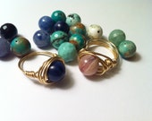 Blue Quartz Ring, Gold Gemstone Ring, Navy Blue and Gold Ring, Gifts For Her, Fall Trends 2014, Size 6 1/2