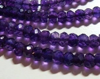 "Organic Cut Royal Purple Amethyst, Gorgeous Royal purple Amethyst Organic Rondelle, 6.5"" strand- 3-4mm"