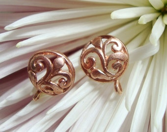 Handmade Rose Gold Vermeil over sterling Silver Leaf Scroll Post with closed loop and ear nuts,2 pairs, 13x9.5mm, Bali Artisan - EP-0002