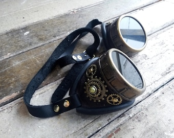Dark Brown and Gold Decorated Steampunk Leather Goggles