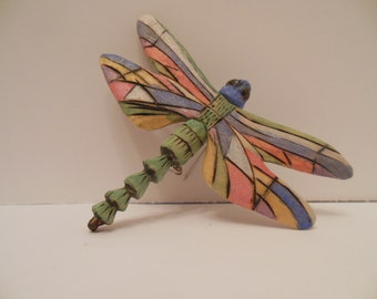 Hand Carved Dragonfly Pin Jewelry Handmade Painted Custom Madeve