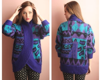 SALE 80s Sweater Cardigan / Avant Garde Metallic Thread / Deep Purple / On Trend Super Comfy / Novelty Interesting Print / Aqua Blue Shapes