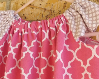 3T/4T Flutter Sleeve Pink & Grey Dress
