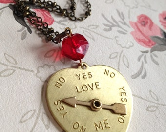 """VALENTINE'S DAY GIFT- Lg. heart pendant necklace, unique long necklace, vintage style, aged brass 29"""" chain, teen jewelry, fun jewelry"""