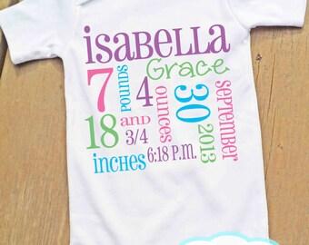 Birth Announcement Bodysuit - Personalized - Newborn - Baby Girl