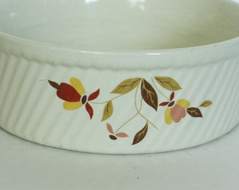 vintage hall's souffle dish in the autumn leaf pattern