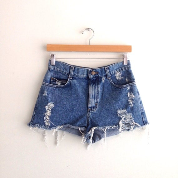 Studded High Waisted Denim Shorts Size Small