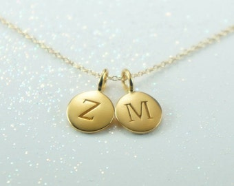 Two Initial Charm Necklace-Matte Gold, Free US Shipping