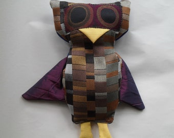 Owl Stuffed Animal - Rectangles with Blue Back