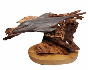 Down Under Original Rick Cain Wood Carving Dolphin Sculpture