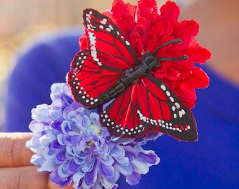 Water and Fire Hair Flower Clip // Red and Blue Pom Pom with Red Butterfly // Beauty Accessory / Retro / Patriotic / 4th of July Celebration