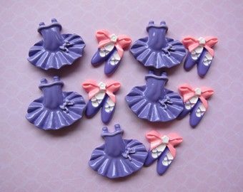 10 pcs Purple Tutu and Ballet Shoes Resin Flatback Cabochons