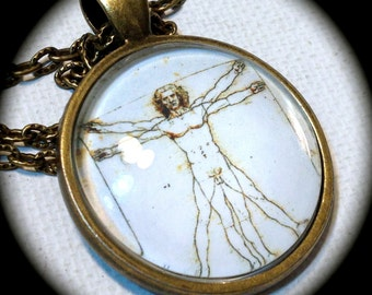 VITRUVIAN MAN . Glass Pendant Necklace . Art . Leonardo da VINCI . GirlGameGeek