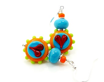 Bright Colorful Earrings, Orange Blue Earrings, Heart Earrings, Lampwork Earrings, Glass Earrings, Glass Bead Earrings, Beadwork Earrings
