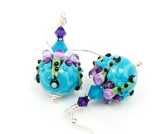 Turquoise Purple Earrings, Lampwork Earrings, Glass Earrings, Glass Bead Earrings, Beadwork Earrings, Beaded Glass Earrings, Unique Earrings