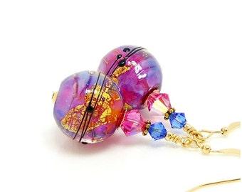 Pink Blue Earrings, Lampwork Earrings, Glass Earrings, Beadwork Earrings, Modern Earrings, Gold Filled Earrings, Unique Earrings