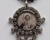 Vintage Rhinestone Madonna and Child Holy Card Religious Assemblage Necklace