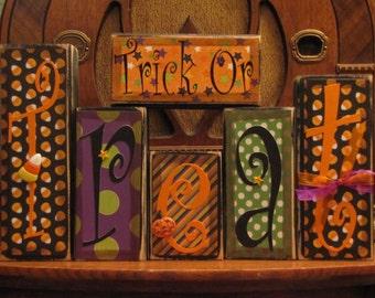Halloween Sign - Trick Or Treat blocks