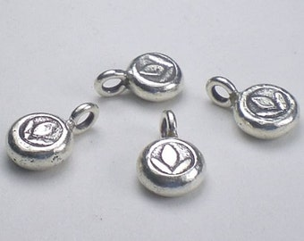 Fine Silver Lotus Blossom Charms Karen Hill Tribe Thai Silver 8x10mm 2 pcs. HT-206-A