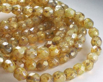 6mm Opal Champagne Picasso Czech Glass Fire Polished Faceted Round Beads 30 pcs. 6mm/156