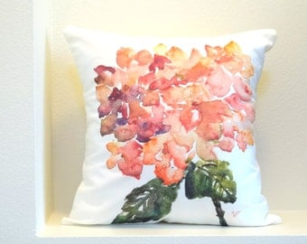 """Pink Hydrangea Watercolor Floral Pillow Cover, Designer Pillow Cover, Pink Hydrangea, Fits 18""""x18"""" or 20""""x20"""" Insert"""
