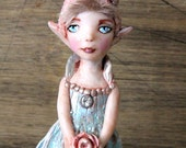 Art Doll Elf Minty Tea Rose Fairy Magical Creation from clay