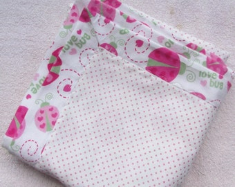 Love Bug Baby Flannel Receiving Blanket ~ Toddler Blanket ~ Baby Blanket ~ Ready to Ship