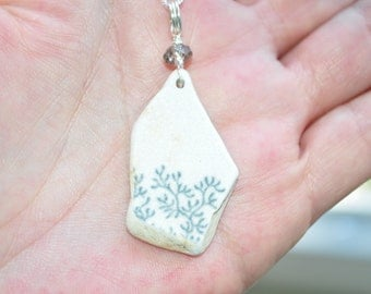 Sea Glass Jewelry Pottery Necklace Grey Patterned with Crystal 6365