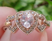 SALE, Solid 10kt Rose Gold, Morganite and Diamond Ring, Sweetheart Gift, Promise Ring, Engagement, Valentine, Birthday, Pink, Lady's Gift