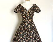 Soot Black, Coral and Sage Floral Sweetheart Tea Dress with Small Sleeves-  Made by Dig For Victory