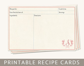 Printable Monogram Recipe Cards with Personalized Initial Letter, 4x6, Editable PDF