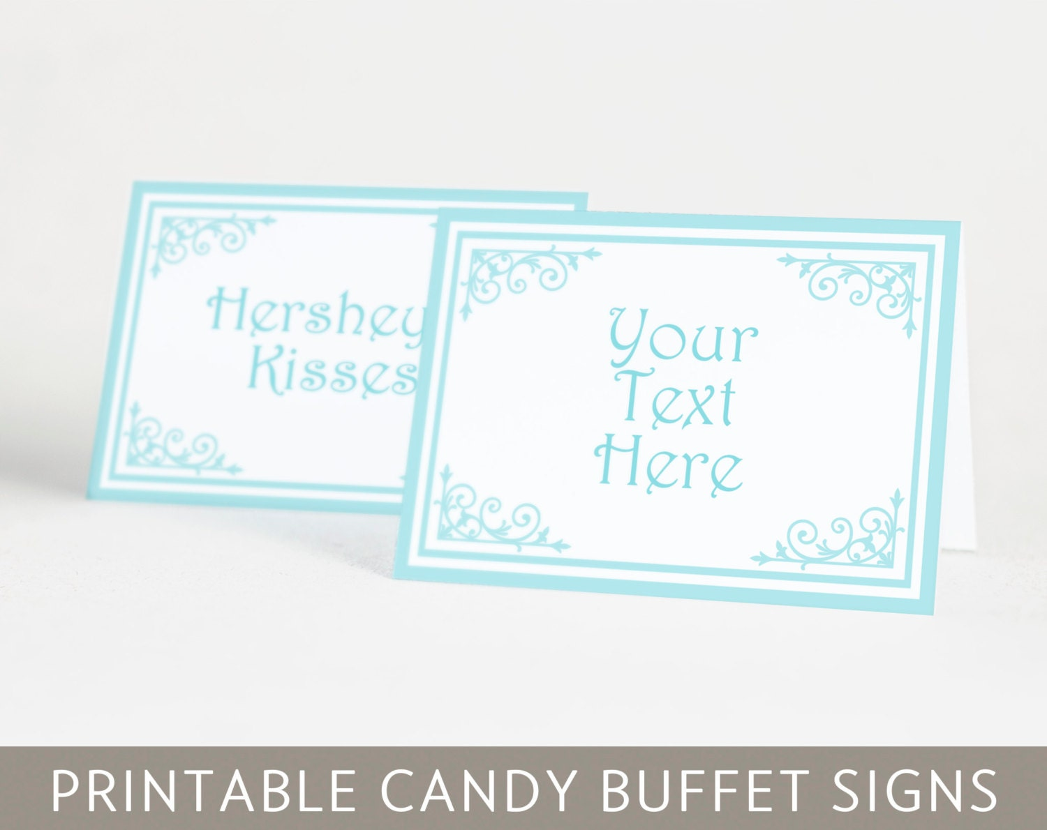 Printable Classic Candy Buffet Signs in Acqua Blue Classic