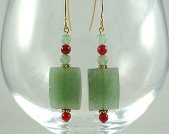 Aventurine Earrings Green Aventurine Gemstone Earrings Green Aventurine Red Agate Earrings