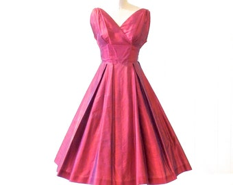 50s Dress, 1950s Prom Dress, Ruby Red 50s Party Dress by Sandra Sage XS
