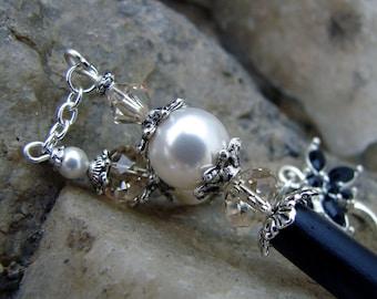 White Pearl and Swarovski Crystal Hair Stick Hairpin - Geisha Hair Accessory - Tahirah